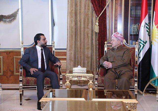 رئيس مجلس النواب العراقي، محمد الحلبوسي يلتقي زعيم الحزب الديمقراطي الكردستاني، مسعود بارزاني، في أربيل العراق، 15 ديسمبر/كانون الأول 2018
