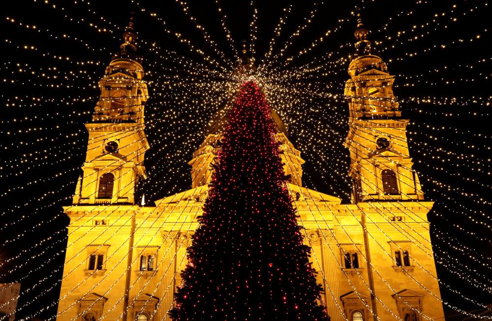 شجرة عيد الميلاد أمام كنيسة سانت ستيفن بازيليكا بودابست، المجر 4 ديسمبر/ كانون الأول 2018