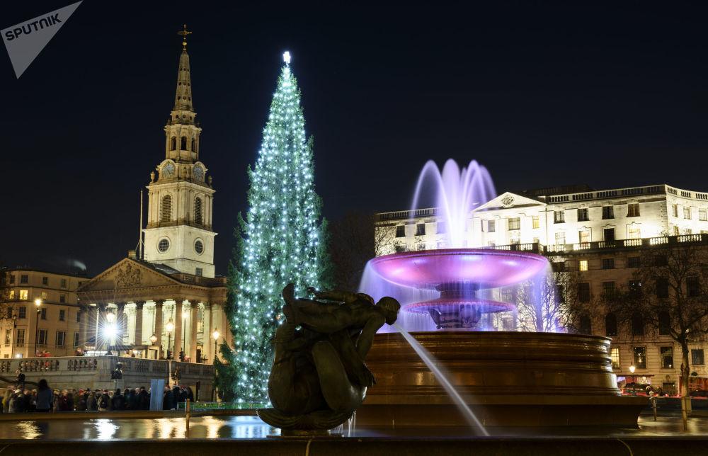 شجرة عيد الميلاد في ميدان ترافالغار في مدينة لندن، إنجلترا، ديسمبر/ كانون الاول 2018