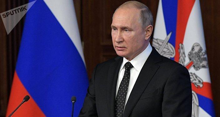 الرئيس الروسي فلاديمير بوتين في اجتماع موسع في وزارة الدفاع الروسية، 18 ديسمبر/ كانون الأول 2018