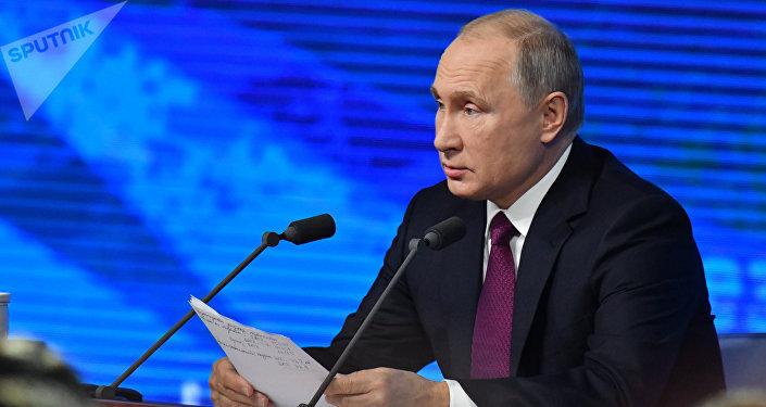 المؤتمر الصحفي السنوي للرئيس الروسي فلاديمير بوتين في موسكو، 220 ديسمبر/ كانون الأول 2018