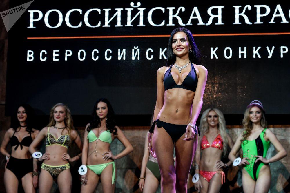 المشاركات في مسابقة الجمال حسناء روسيا لعام 2018 خلال المسابفة في فندق كورستون في موسكو