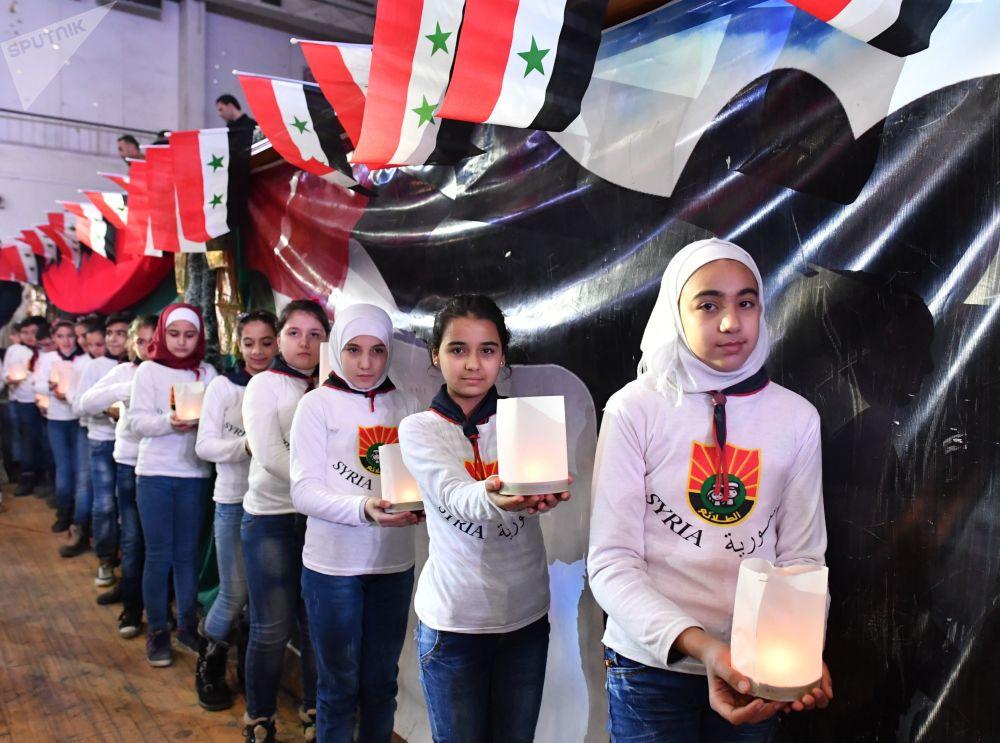 المشاركات في الاحتفال بالذكرى الثانية لتحرير حلب من المسلحين