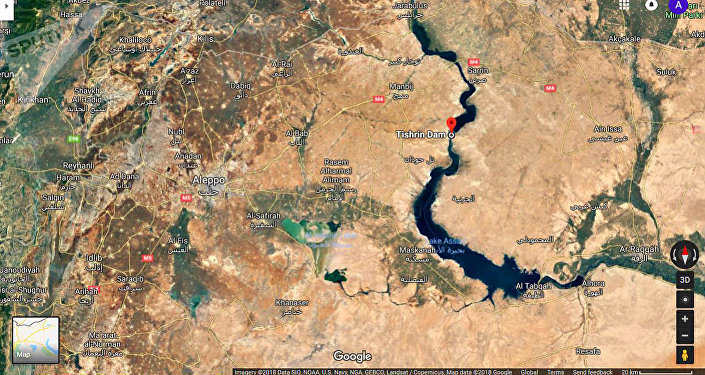 سد تشرين الاستراتيجي على نهر الفرات في سوريا