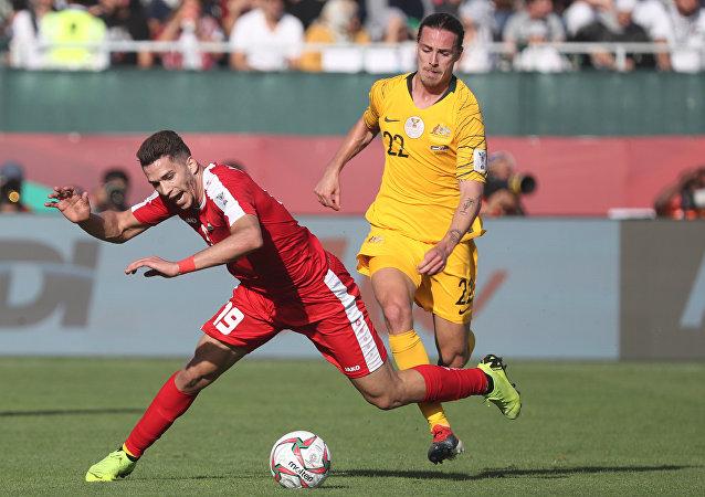 المنتخب الفلسطيني مع نظيره الأسترالي، ضمن الجولة الثانية من المجموعة الأولى لكأس آسيا 2019.
