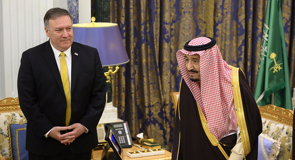 العاهل السعودي الملك سلمان بن عبد العزيز يستقبل وزير الخارجية الأمريكي مايك بومبيو، في قصر اليمامة بالرياض