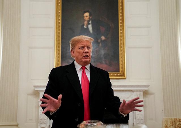 الرئيس الأمريكي دونالد ترامب في البيت الأبيض، واشنطن، 14 يناير/ كانون الثاني 2019