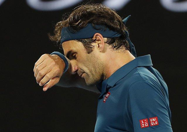 لاعب التنس روجر فيدرر عقب خروجه من بطولة أستراليا المفتوحة للتنس بعد هزيمته في الدور الرابع، 20 يناير/كانون الثاني 2019