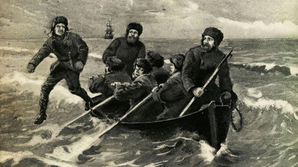 لوحة فنية للنزول الأول على القارة القطبية الجنوبية للعالم النرويجي كارستن بورتشغريفنك (Carsten Borchgrevink, 1895)
