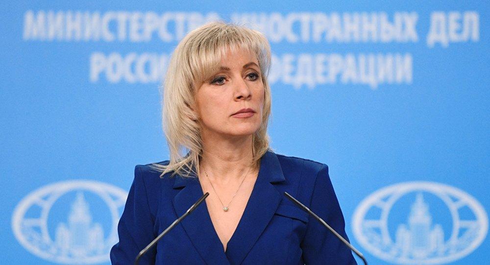 الناطقة الرسمية باسم وزارة الخارجية الروسية، ماريا زاخاروفا خلال مؤتمر صحفي أسبوعي في موسكو، 23 يناير/ كانون الثاني 2019