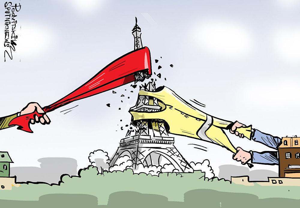 مسيرة الأوشحة الحمراء في معاكسة لاحتجاجات السترات الصفراء في فرنسا