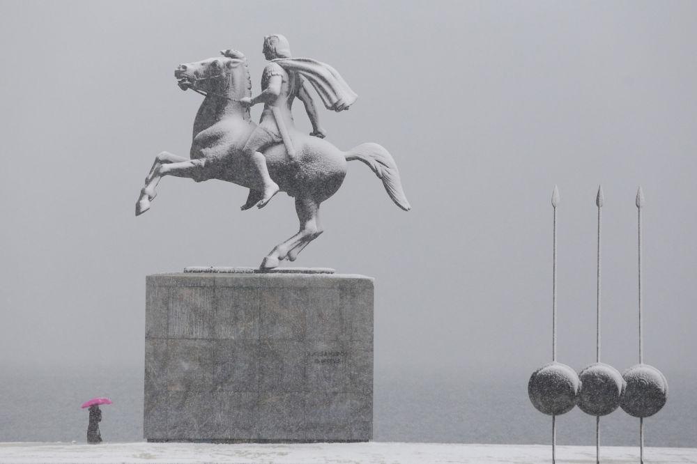 نصب تذكاري لاسكندر المقدوني في سالونيك، اليونان 4 يناير/ كانون الثاني 2019