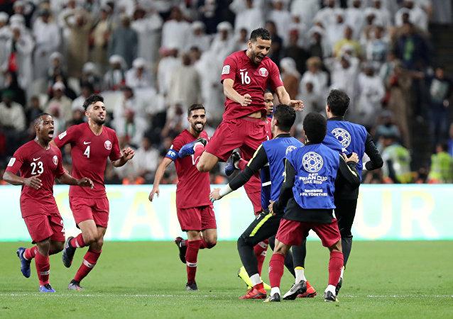بوعلام الخوخي يحتفل بتسجيل هدفه الأول في مرمى الإمارات في نصف نهائي كأس آسيا 2019