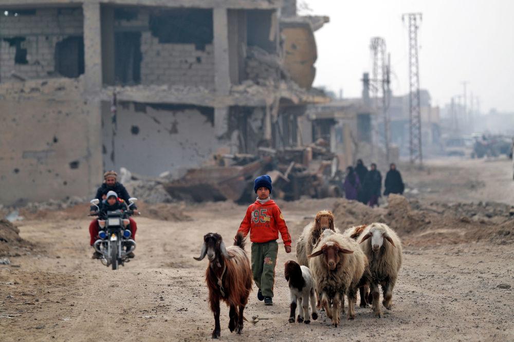 مدنيون سوريون، نازحون يعودون إلى مدينة هجين في دير الزور، بعد تحريرها من تنظيم داعش الإرهابي، سوريا 27 يناير/ كانون الثاني 2019