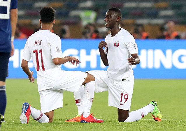 المعز علي في نهائي كأس آسيا بين منتخب قطر مع اليابان