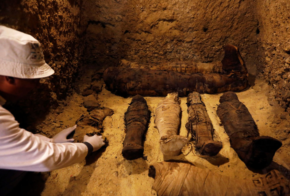 عالم آثار مصري يفحص المومياوات داخل قبر أثناء عرض اكتشاف جديد بموقع تونا الجبل الأثري في محافظة المنيا، مصر ، 2 فبراير/ شباط 2019