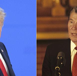 صورة مفارقة - الرئيسان الأمريكيان دونالد ترامب ورونالد ريغان