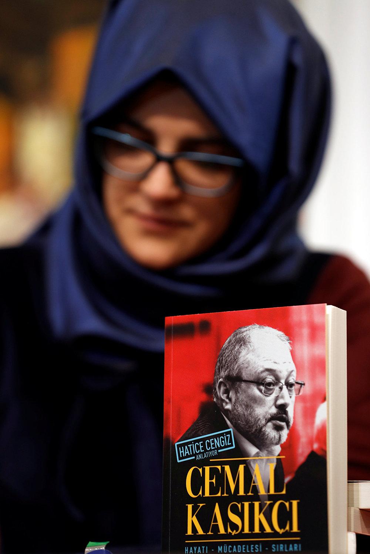 خديجة جنكيز في مؤتمر صحفي أقيم في اسطنبول بتركيا عن كتابها الجديد، 8 فبراير/شباط 2019