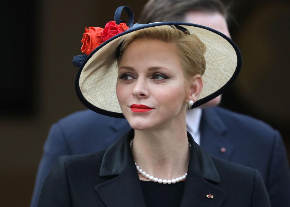 الأميرة شارلين، أميرة موناكو، لدى حضورها مراسم الاحتفال باليوم الوطني لموناكو في قصر موناكو، 19 نوفمبر/ تشرين الثاني 2016