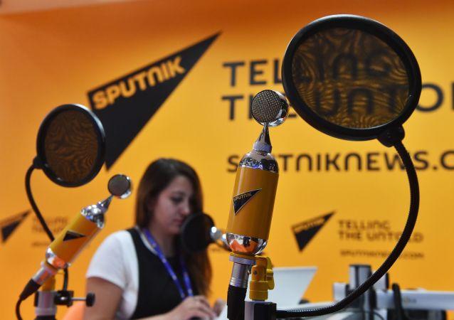 استوديو وكالة سبوتنيك للبث الإذاعي في منتدى إكسبوفوروم الاقتصادي الدولي لعام 2017