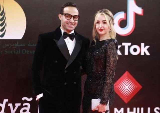 الممثلة المصرية هنا الزاهد وخطيبها الفنان المصري أحمد فهمي