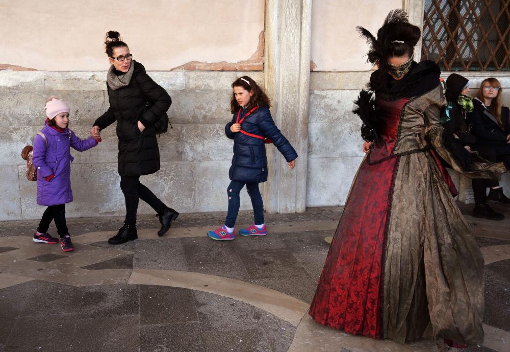 المشاركون في كرنفال فينيسيا، البندقية، 17 فبراير/ شباط 2019
