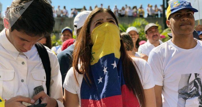 مظاهرات المعارضة الفنزويلية (خوان غوايدو) في كاراكاس، فنزويلا فبراير/ شباط 2019