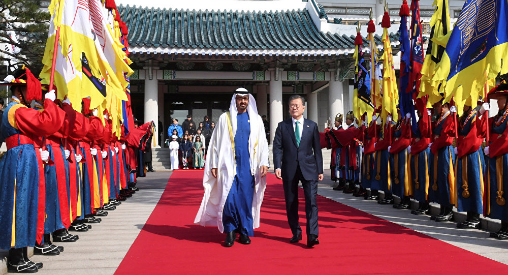 محمد بن زايد مع رئيس كوريا الجنوبية