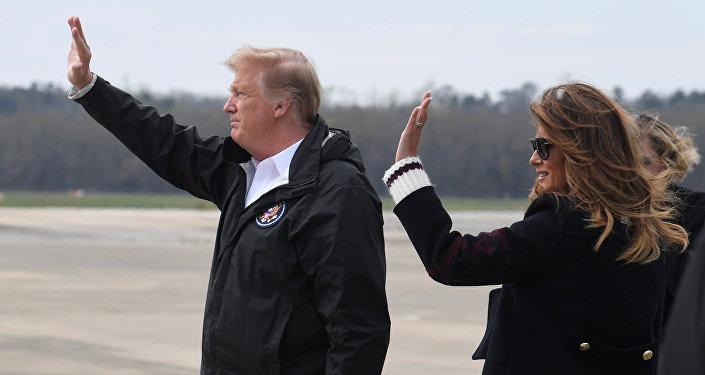 ميلانيا ترامب مع زوجها الرئيس الأمريكي دونالد ترامب، 8 مارس/آذار 2019