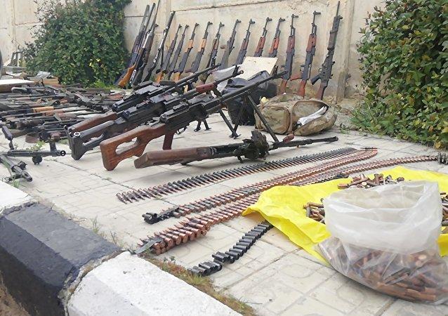 العثور على أسلحة رشاشة و ذخائر في ريف درعا الشمالي جنوب سوريا