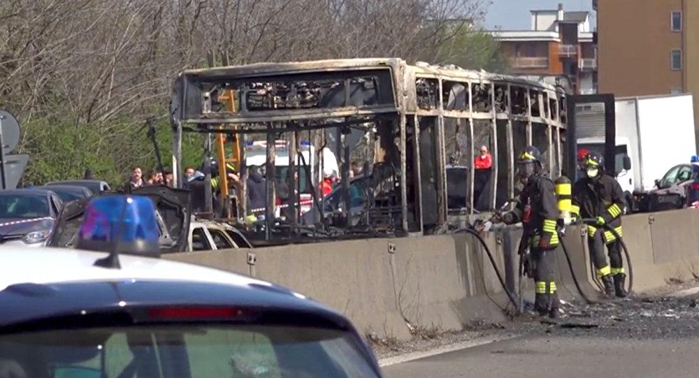 حريق حافلة
