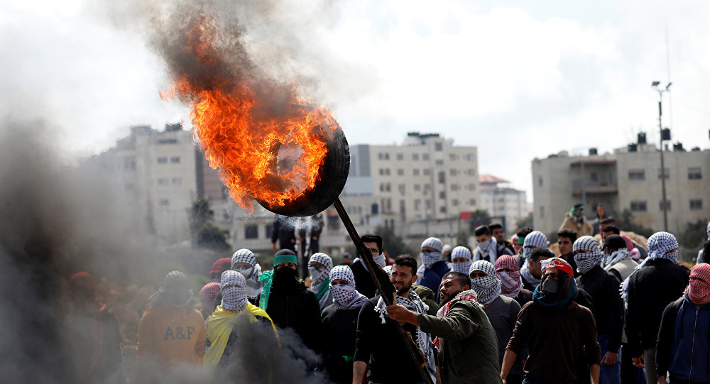 مسيرة فلسطينية في الضفة الغربية