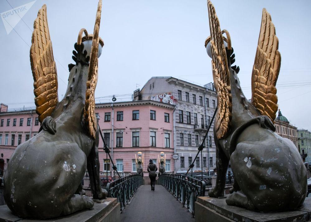 جسر بانكوفسكي في سان بطرسبورغ الروسية