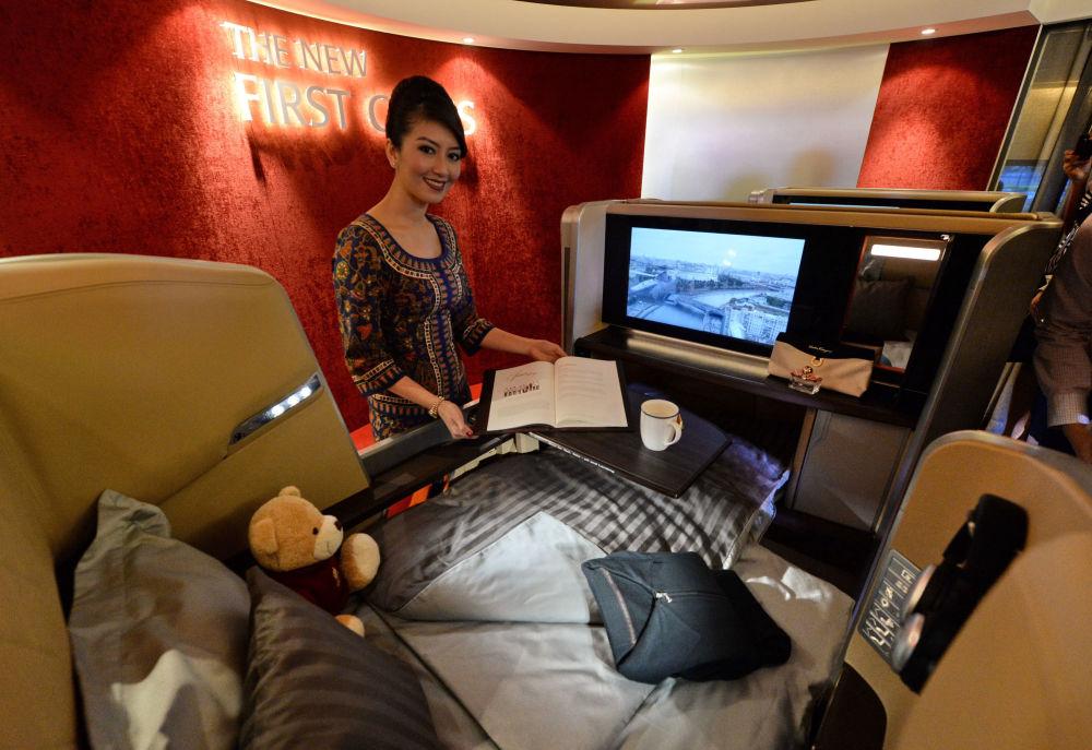 صالون طائرة تابعة لشركة الطيران Singapore Airlines