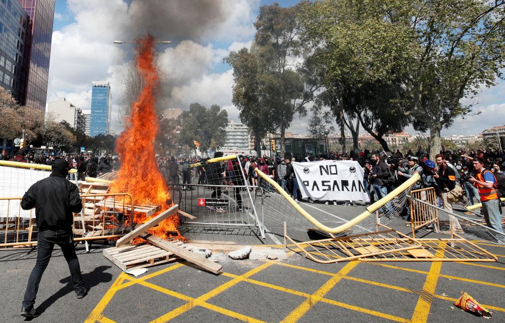 مظاهرات من أجل استقلال كاتالونيا في برشلونة، إسبانيا 30 مارس/ أبريل 2019