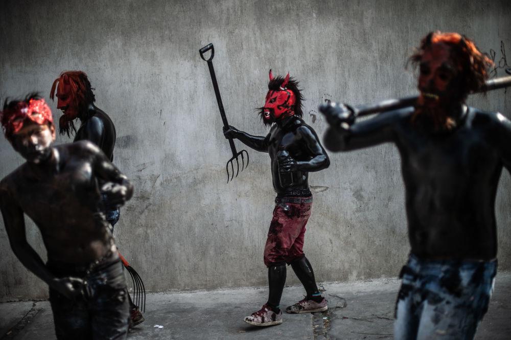 أثناء الكرنفال التقليدي في سان نيكولاس دي لوس رانشوس في المكسيك، 31 مارس/ آذار 2019