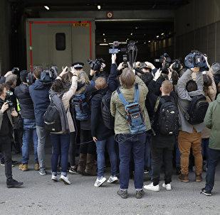 من أمام محكمة ويستمنستر في لندن، اعتقال مؤسس ويكيليكس جوليان أسانج، 11 أبريل/ نيسان 2019