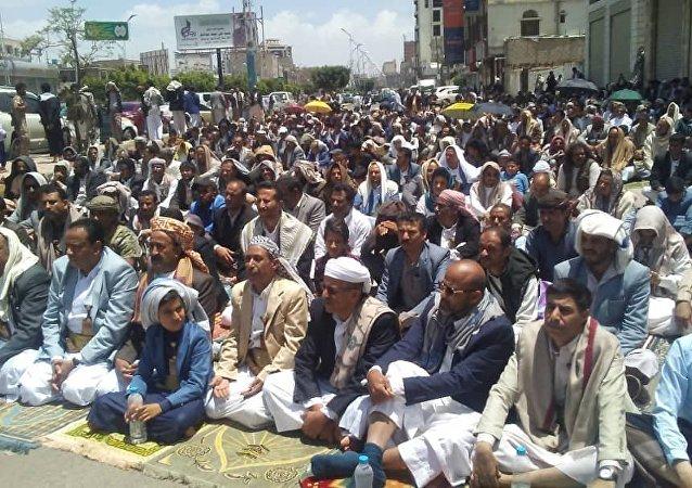 اعتصامات أمام مكتب الأمم المتحدة بالعاصمة اليمنية صنعاء للإفراج عن السفن النفطية المحتجزة