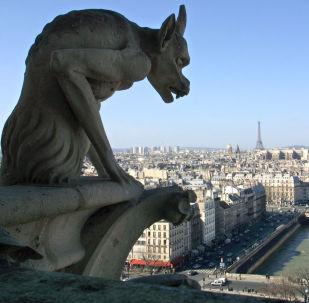 مشهد يطل على مدينة باريس من أعلى سطح كاتدرائية نوتردام، 14 مارس/ آذار 2002