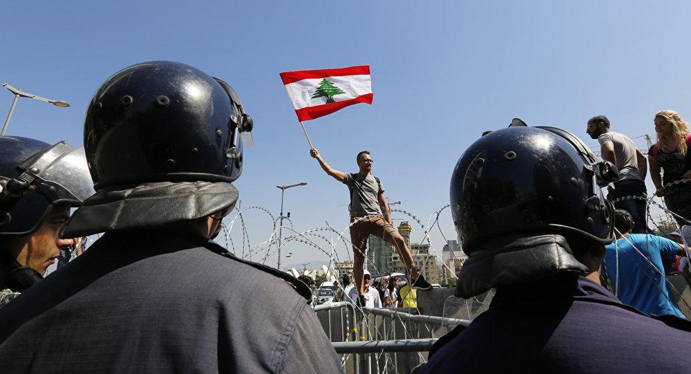 خلال المظاهرات في العاصمة بيروت