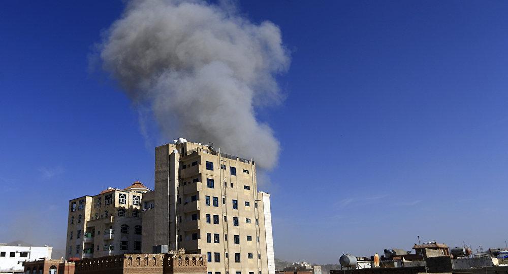 غارات التحالف العربي على اليمن، صنعاء، يوم 16 أيار/مايو