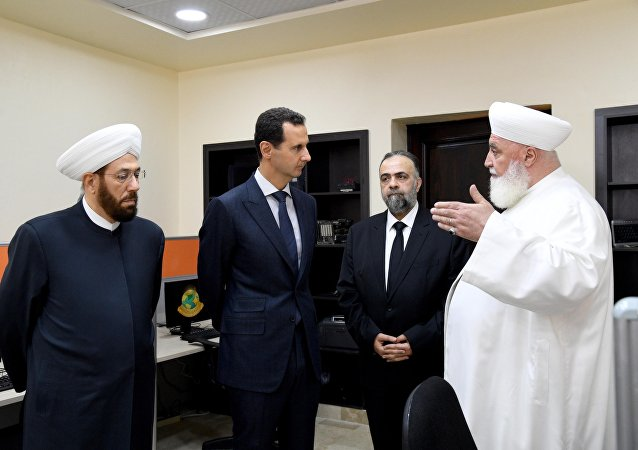 الرئيس السوري بشار الأسد في افتتاح مركز الشام الإسلامي الدولي