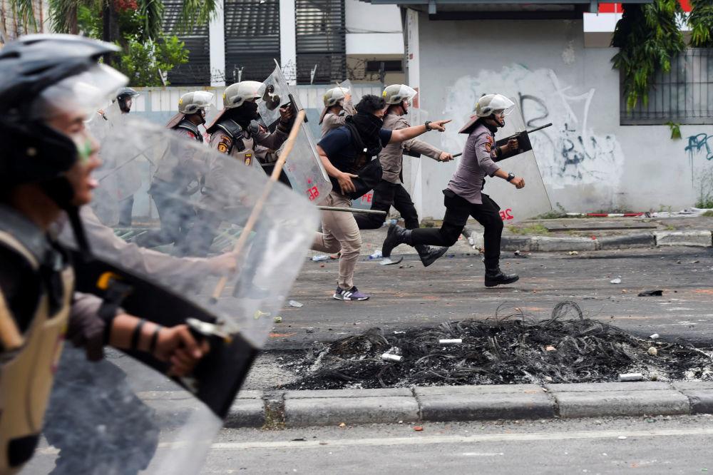احتجاجات في جاكارتا عقب إعلان نتائج الانتخابات، إندونيسيا 22 مايو/ أيار 2019