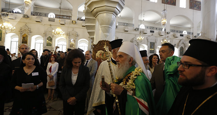 البطريرك إيريناوس بطريرك صربيا يزور الكنيسة المريمية في دمشق