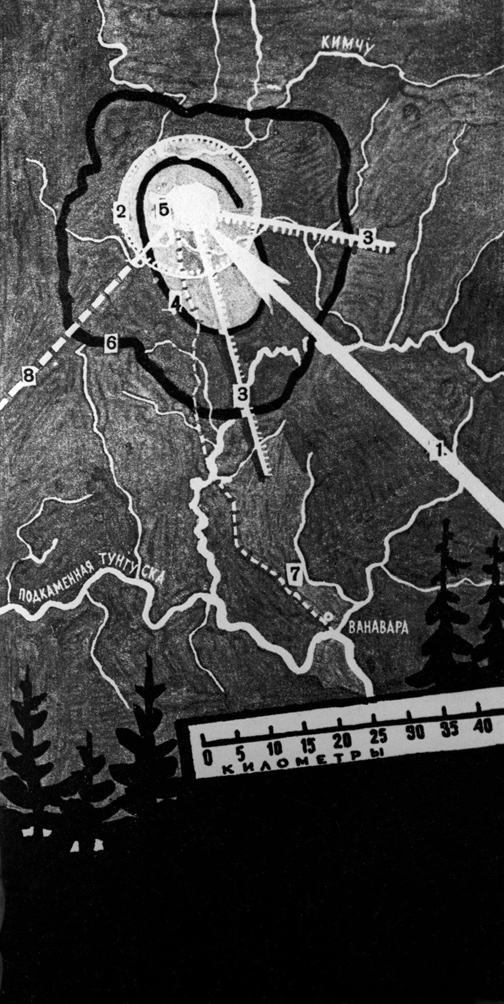 خريطة مكان سقوط نيزك تونغوسك