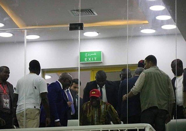 نانا أكوفو أدو رئيس دولة غانا  في استاد الإسماعيلية الرياضي لمتابعة  مباراة منتخب بلاده أمام بنين