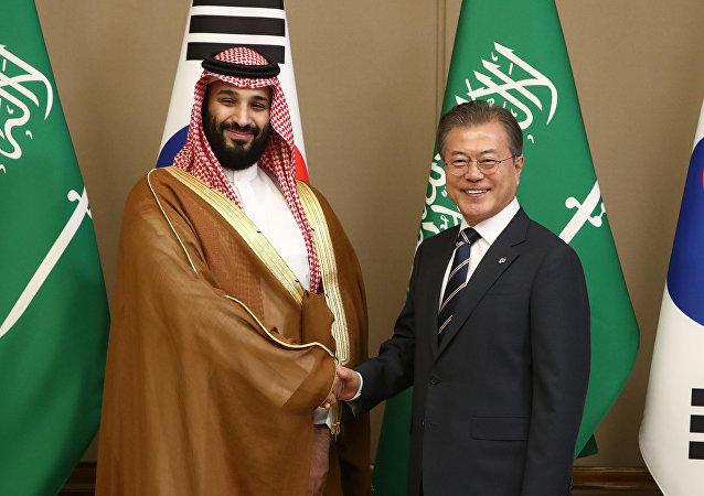 محمد بن سلمان مع رئيس كوريا الجنوبية