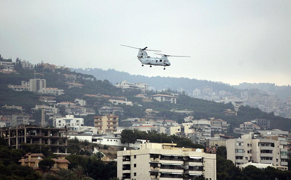 مروحية أمريكية فوق سفارة الولايات المتحدة في لبنان بعوكر
