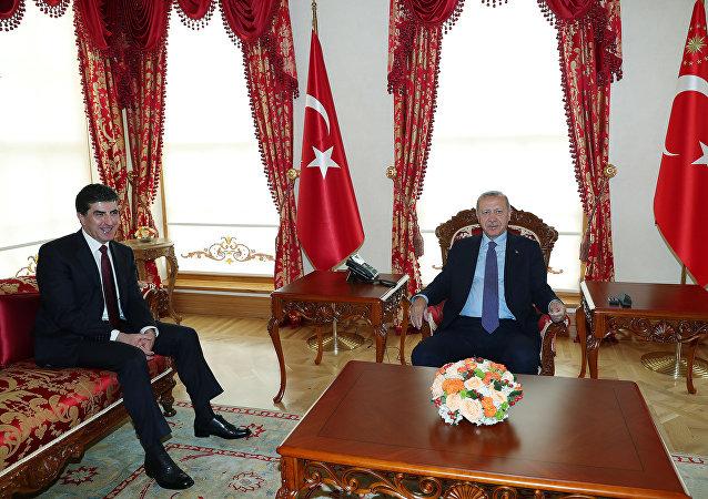 الرئيس التركي أردوغان يلتقي مع رئيس إقليم كردستان العراق الذي يتمتع بحكم شبه ذاتي نيشيرفان بارزاني في إسطنبول