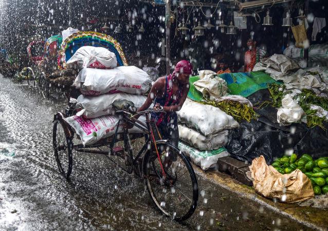 مجتذب من العربة في بنغلاديش يشق طريقه تحت الأمطار الغزيرة في دكا في 30 يونيو/ حزيران 2019. - تمطر الأمطار الموسمية عبر شبه القارة الهندية من يونيو/ حزيران إلى سبتمبر/ أيلول
